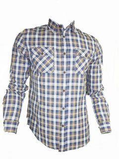 Mens Casual John Tungatt Designer Blue Check Shirt Small