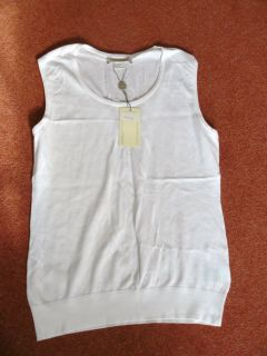 John Smedley Sail Sweater Vest Top 100 Cotton White Large Sea Island £85