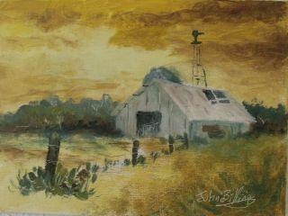 John Billings Original 5x7 Oil Painting Sunrise Clouds Barn Windmill Fence Trees
