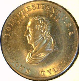 John Tyler Mint Version 1 Commemorative Bronze Medal Token Coin