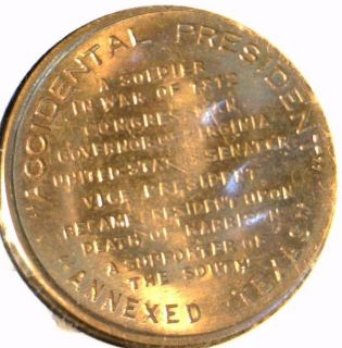 John Tyler Mint Version 1 Commemorative Bronze Medal Token Coin