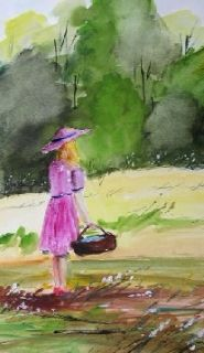 Original Lady Landscape Watercolor Painting JMW Art John Williams Impressionism