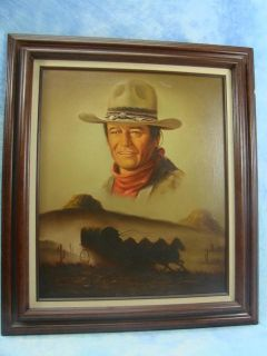 Wood Framed John Wayne Art Oil Painting on Canvas by Ceruantes