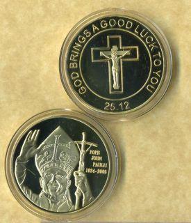 POPE JOHN PAUL II 24 K GOLD COIN GOOD LUCK NEW FV |