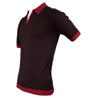 John Smedley Perry Mens Striped Polo Shirt SS12 Flag Red