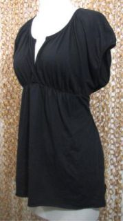 Velvet Graham Spencer Womens Black V Neck Empire Waist Soft Shirt Sz L