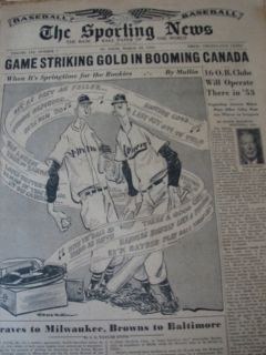 Sporting News March 18 1953 Rookie Johnny Podres Babe Herman