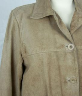 St John's Bay Womens Ladies Light Brown Suede Leather Coat Jacket Size S