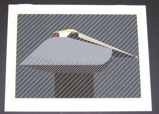 Charles Charley Harper Hand Signed Limited Edition Print Pelican In A Downpour