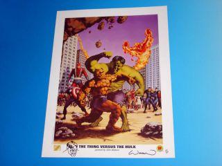 THING Versus HULK Marvel Lithograph Signed John Watson with Original Art SKETCH