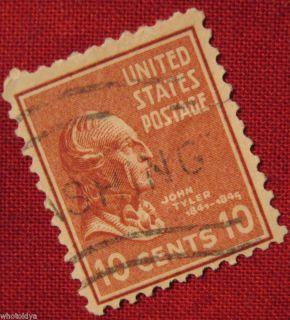 1938 John Tyler 10 Cent US Postage Stamp US 815