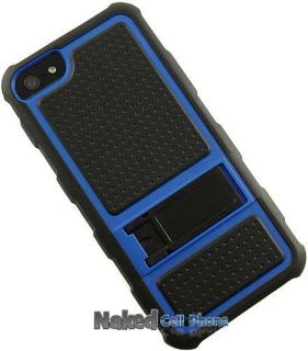 BLUE BLACK RUGGED JOLT CASE TPU RUBBER COVER WITH STAND FOR APPLE iPHONE 5