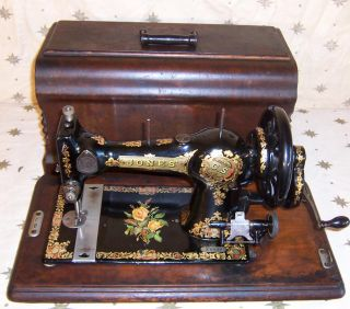 1880s Jones Family CS Hand Crank Sewing Machine Yellow Rose