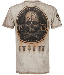 Affliction MMA on The Tracks Live Fast Skull Vintage Bronze Mens Tee Shirt L