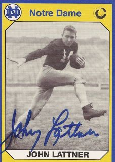 Johnny Lattner Notre Dame Fighting Irish Signed Football Heisman Card Wpic AUTO2