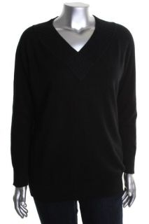 Jones New York NEW Black Cashmere Ribbed Trim V Neck Pullover Sweater Plus 0X