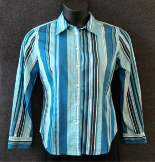 Jones New York Signature Petite Sz PL Striped Button Down Fitted Cotton Shirt