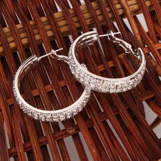 Super Star Jolin Favorite CZ Stud Thick Hoop Earrings M