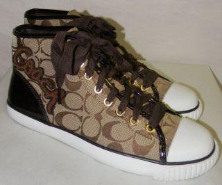 New Coach Garcia Khaki Signature C Brown Patent Leather Sneakers Sz 8 A1049 NIB