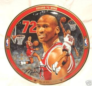 Chicago Bulls Michael Jordan Collector Plate '72 Wins'