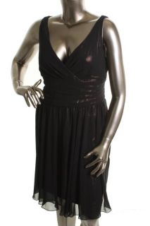 Jones New York New Black Chiffon Surplice Cocktail Evening Dress Plus 18 BHFO