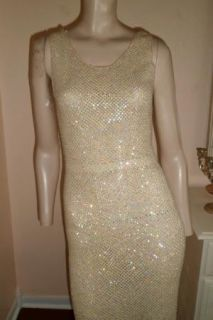 Vintage 60s Marilyn Monroe Style Hourglass Pinup Sequin Open Knit Wiggle Dress
