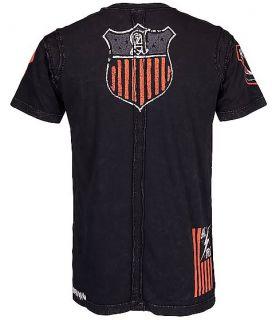 Affliction MMA American Customs Notch Neck Eagle Black Mens Tee Shirt M