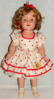 "1930s Ideal 18"" Composition Shirley Temple Doll w Nice Wig Polka Dot Outfit"