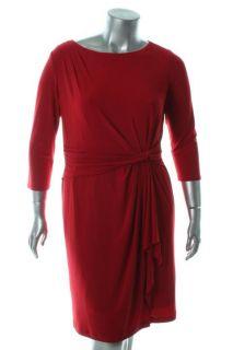 Jones New York NEW Red Flounce Side Drape Cocktail Dress Plus 18 BHFO