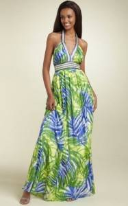 $378 BCBG Larkspur Blue Silk Halter Long Dress Gown