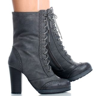 Gray Lace Up Victorian Women Platform Chunky High Heel Ankle Boots Size 7
