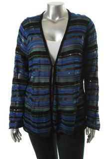 Jones New York NEW Blue Sheer Sequined Striped Long Sleeve Casual Top Plus 3X