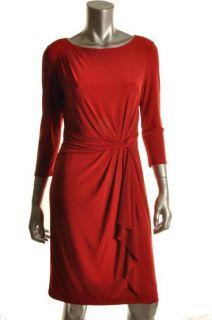 Jones New York NEW Red Flounce Side Drape Cocktail Dress 6 BHFO