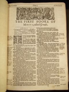 1628 King James Holy Bible Antique RARE Fine Leather Family Display Map by Speed