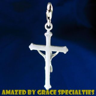 Large Sterling Silver Crucifix Cross Pendant Necklace
