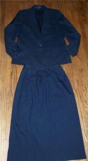 Vintage Joseph A Banks Charcoal Navy Pinstripe Menswear Skirt Suit Jacket 10