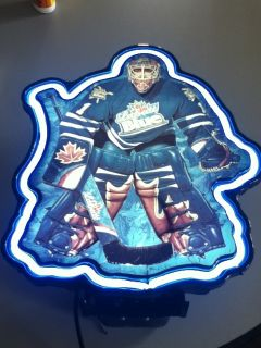 ML1 Labatt Beer Sign Neon Light Bar Lighted Wall Display Hockey Player Bar Pub