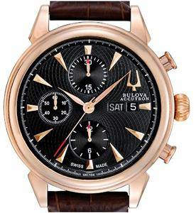 Bulova Accutron Men's Rose Gold Brown Leather Strap Chronograph Watch 64C104