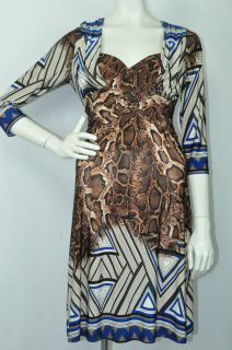 Joseph Ribkoff 22836 Electric Blue Brown Animal Geometric Print Dress Sz 8 UK 10