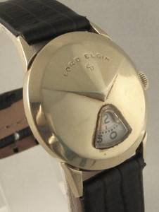 Mens 14K Yellow Gold Filled 1957 CHEVRON Lord Elgin DIRECT READ Jump Hour Watch