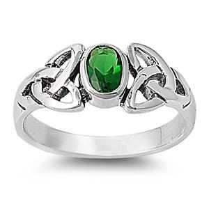 Celtic Triquerta Oval Emerald CZ Sterling Silver Ring Sizes 5 10