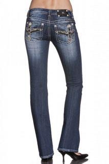 Miss Me JP6116B Black Star Wing Cross Boot Cut Lowrise Stretch Jeans