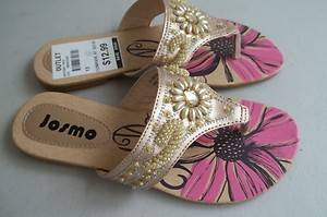 New Josmo Girls Gold Beaded Thong Sandals Size 13 $32