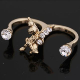 Fairy Tinkerbell Swarovski Crystal Ring Size6 7 8 9 M O Q Adjustable Gold Silver