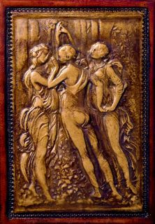Fiorentina Biscotto Three Graces Medieval Refillable Hand Tooled Leather Journal