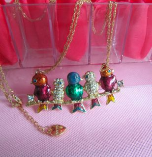 Betsey johnson Rhinestone 5 free singing bird joy double deck chain necklace075L