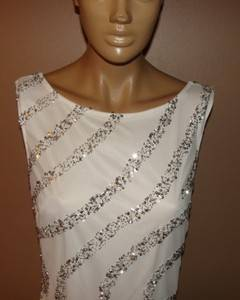 JS COLLECTIONS WHITE SILVER SEQUIN PENCIL COCKTAIL DRESS SZ 6 NYCTO 339 NEW