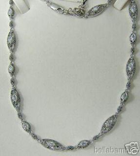 Judith Jack Sterling Silver CZ Marcasite Necklace
