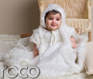 Baby Girls Ivory Christening Dresses Faux Fur Trim Flower Bead Pattern Dress