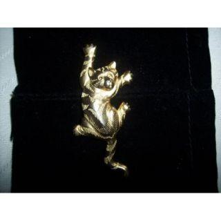 J J Judith Jack 1988 Gold Tone Climbing Cat Kitten Pin Brooch